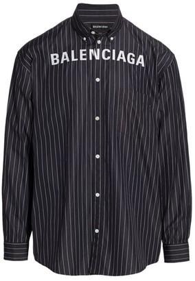 Balenciaga Logo Button-Front Striped Shirt
