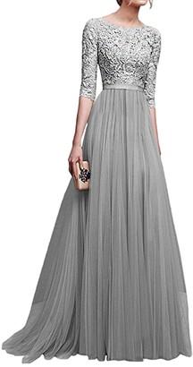 Minetom Women's Formal Evening Maxi 3/4 Sleeve Lace Dress