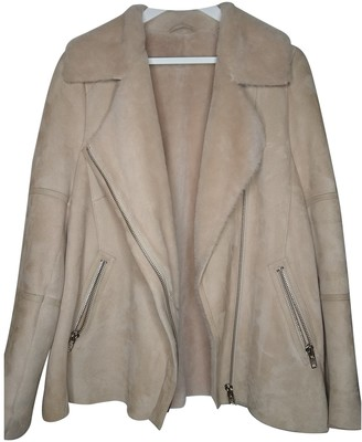 Reiss Ecru Shearling Jacket for Women