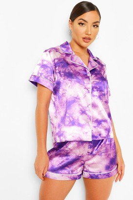 boohoo Tie Dye Satin PJ Short Set