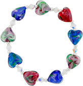 Glass Heart Bridge Jewelry Dazzling Designs Red & Blue Bead Bracelet