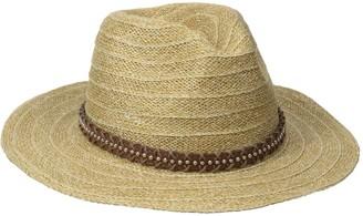San Diego Hat Company Women's Wide Brim Leather Studded Fedora