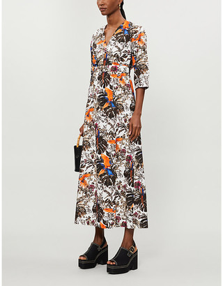 Max Mara Floral-print cotton-poplin midi dress