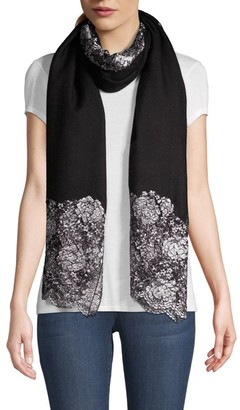 Janavi Metallic Floral Center Panel Cashmere Scarf