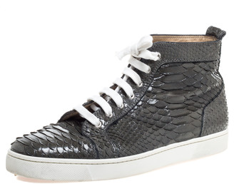 Christian Louboutin Grey Python Louis High Top Sneakers Size 45