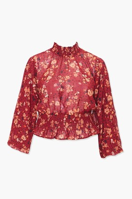 Forever 21 Plus Size Smocked Floral Top