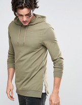 Asos Longline Muscle Fit Hoodie With Side Zips