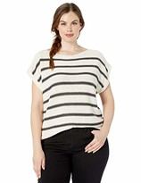 Lucky Brand Women's Plus Size Stripe Short Sleeve Pullover Sweater