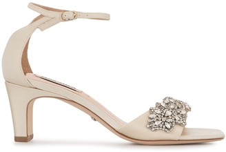 Badgley Mischka Alison crystal-embellished satin sandals