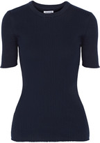 Frame Le Crew Ribbed Cotton-jersey Top - Navy