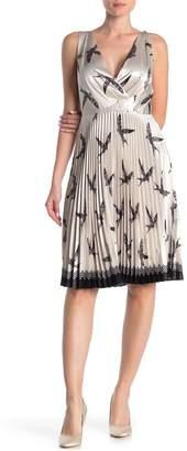 Reiss Peyton Bird Print Pleated Dress