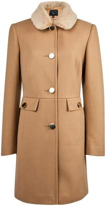 Dorothy Perkins Womens Camel Faux Fur Collar 'Dolly' Coat