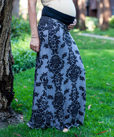 Gray & Black Damask Under-Belly Maternity Maxi Skirt