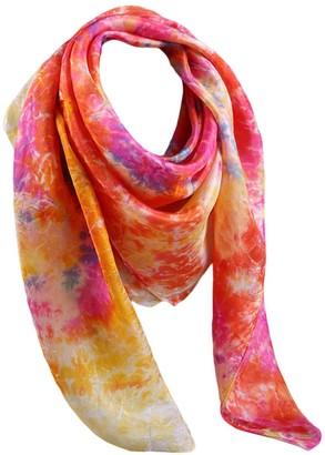 "G Like G-Like Neck Silk Square Scarf - Luxury Silk Womens Ladies Vintage Chinese 100% Handmade Tie-Dye Batik Spring Winter Head Shawl Wraps - 35.4"" x 35.4"" (Orange&Yellow)"
