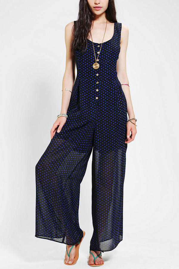 Urban Outfitters Staring At Stars Wide-Leg Button-Down Jumpsuit
