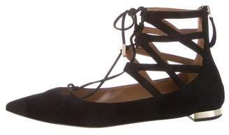 Aquazzura Suede Pointed-Toe Flats