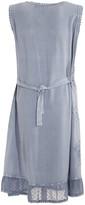 Coline Women's Casual Dresses Silver - Silver Blue Embroidered Ruffle-Hem Sleeveless Dress - Women
