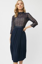 Little Mistress Alice Navy 3/4 Sleeve Crochet Top Midi Dress With Pleated Skirt