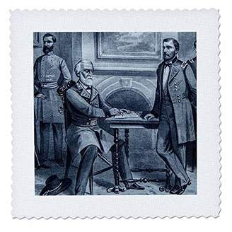 Lee 3D Rose General Surrenders at Appomattox Courthouse Virginia Square Quilt 8 x 8