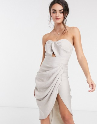 ASOS DESIGN twist detail badeau midi dress with drape front skirt in satin textured crepe
