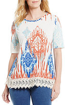 Multiples Elbow Sleeve Printed Accent Lace Hem Knit Top
