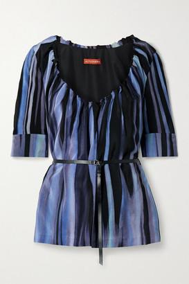 Altuzarra Nika Belted Printed Silk Crepe De Chine Blouse - Blue