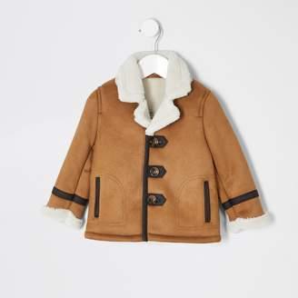 River Island Mini boys Tan borg lined faux suede jacket