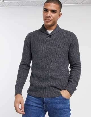 Abercrombie & Fitch icon shawl collar knit jumper in grey