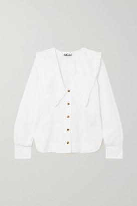 Ganni Ruffled Organic Cotton-poplin Shirt - White