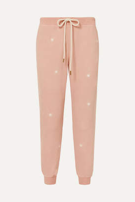 The Great The Cropped Embroidered Slub Cotton-jersey Track Pants - Pink