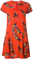 Cacharel feather print shirt dress - women - Silk/Cotton/Spandex/Elastane - 36