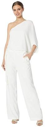 Halston Asymmetrical Crepe Jumpsuit (Chalk 2) Women's Jumpsuit & Rompers One Piece