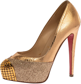 Christian Louboutin Maggie Glitter & Python Embossed Leather Platform Pumps Size 36