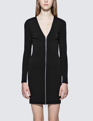 Alexander Wang Alexander Wang.T Stretch Faille Ponte L/S Dress With Front Zipper