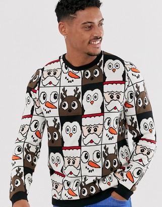 Asos Design DESIGN christmas sweater in all over design-Black