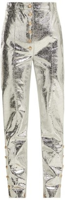Hillier Bartley Crackle Coated Metallic Trousers - Womens - Silver