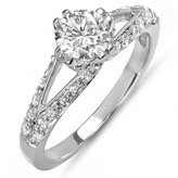 DazzlingRock Collection 1.25 Carat (ctw) 14K White Gold Round Diamond Solitaire With Accents Bridal Engagement Ring (Size 8)