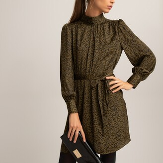 La Redoute Collections Leopard Print Mini Dress with High-Neck and Long Puff Sleeves