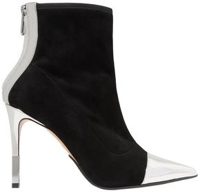 Balmain Mirrored Leather-trimmed Stretch-suede Ankle Boots