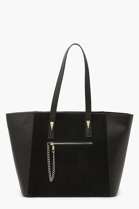 boohoo Suedette & PU Tote Bag With Chain Trim Detail