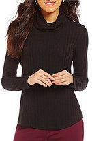 Westbound Textured Long Sleeve Cowl Neck Solid Top