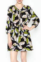 Olivaceous Leaf Print Dress