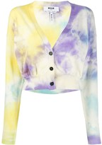 MSGM cropped tie-dye cardigan
