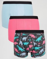 Asos Trunks With Dinosaur Print 3 Pack SAVE