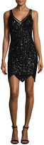 Mac Duggal Mesh Sequin Slip Dress
