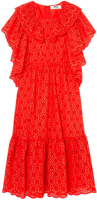 MSGM Ruffled Broderie Anglaise Cotton Midi Dress