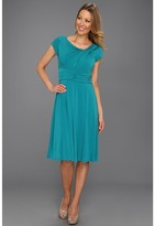 Jessica Howard Cap Sleeve Knot Neck Ruched Waist (Turquoise) - Apparel