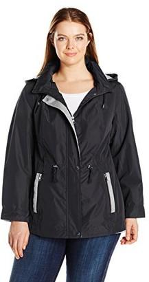 Details Women's Plus Size Mixed Media Anorak with Sweatshirt Fleece Trim