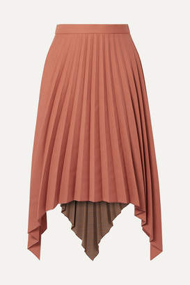 Acne Studios Islie Asymmetric Pleated Woven Midi Skirt - Brick