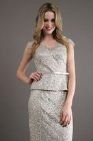 Kay Unger Sequin Top in Platinum